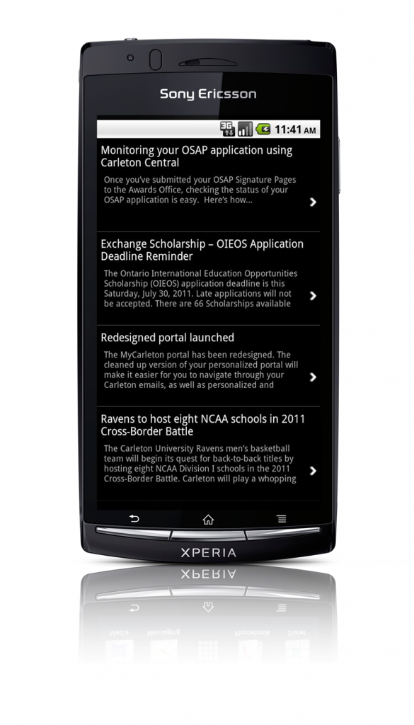 Sony Ericsson Xperia Arc News Screenshot