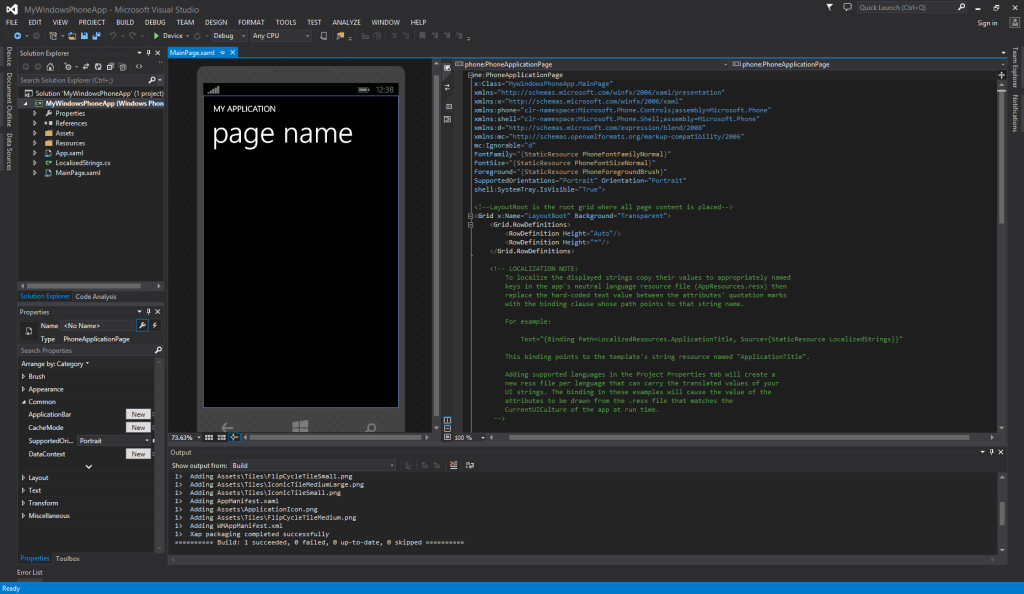 One IDE to Rule Them All - Visual Studio Community Windows Phone XAML Editor